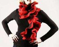 http://www.etsy.com/listing/66132695/hand-felted-ruffled-scarf-red-and-grey