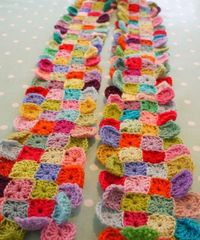 Multicolor Mini Granny Square/Afghan Crochet Scarf Tutorial from Do You Mind if I Knit?