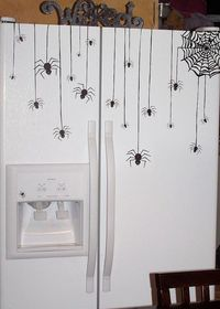fridge decorated for Halloween