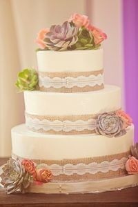 burlap, lace, and succulent cake!