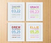 Modern birth announcements. Fun colors and clean typography.