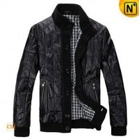 Men's Black checkered Leather jacket - cwmalls.com