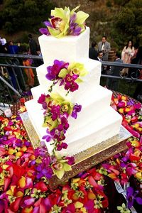 Vibrant orchid cake decoration
