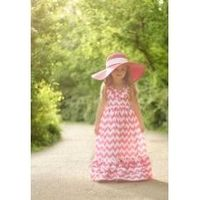 Such a pretty chevron maxi dress for a girl and love the hat