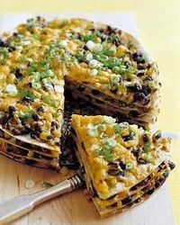Tortilla and black bean pie