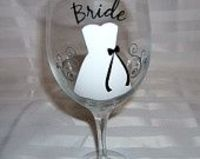 1 Wedding Glass, Personalized Bachelorette/Bridesmaids Wine Glasses, Dress Wine glass for Weddings, Black, Silver and White.