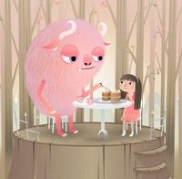 Adorable illustration of a girl and a pink monster enjoying afternoon tea in a peaceful forest, by Louise McLennan.