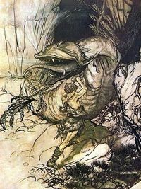 Siegfried slaying the dragon Fafner, 1911, Arthur Rackman, illustration from Richard Wagner's Siegfried and the Twilight of the Gods