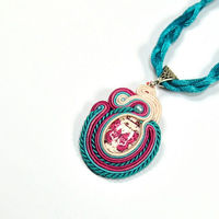 Soutache Necklace. Pendant. Turquoise necklace.