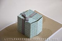 "A 3D gift pop-up card at the ""little green box"""