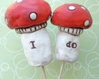 Natural Mushrooms- wedding cake topper. :)