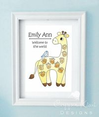 fingerprint giraffe. perfect for baby shower, baby arrival or 1st birthdays.