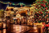 Disney Main St. Christmas scene