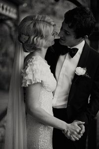 Tight shot on the bride and groom in classic black and white!