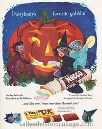 Such an absolutely, wonderfully adorable vintage Halloween ad for Necco Wafers. #Halloween #candy #pumpkin #cute #1950s #ad #vintage #fifties #food #retro