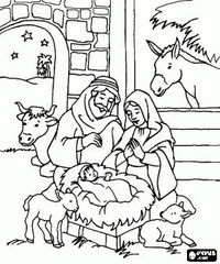 Nativity Scene Coloring Pages Book Printable Color