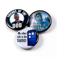 Dr. Who - TARDIS, Ood and Don't Blink (Weeping Angel) - Set of 3 pinback buttons