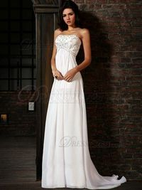 VILAVI Sheath/Column Chiffon Sweep/Brush Train Beading Wedding Dresses