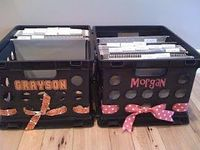File crate for each kid w/ a folder for each school year to hold report cards, awards, etc.-cute idea