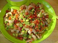 Shrimp and Avocado Tacos from Cooking Light Mag. (tomato, avocado, cilantro, salt, pepper, shrimp, jalapeno, garlic, tortillas)