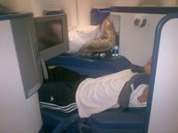 Airplane flight with flatbed and Plasma TV! Wow!