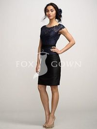 navy bateau neck lace top over black lining party dress with with cap sleeves