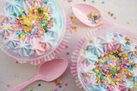 Cotton candy ice cream with sprinkles
