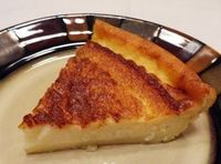 MAGIC CRUST CUSTARD PIE. 1/4 c margarine; 4 eggs; 3/4 c white sugar; pinch salt; 2 c 2% milk; 2 tsp vanilla extract; 1/2 c all-purpose flour. Put all ingredients into a blender. Blend for 30 seconds. Pour into buttered 9-inch pie plate. Sprinkle with ...